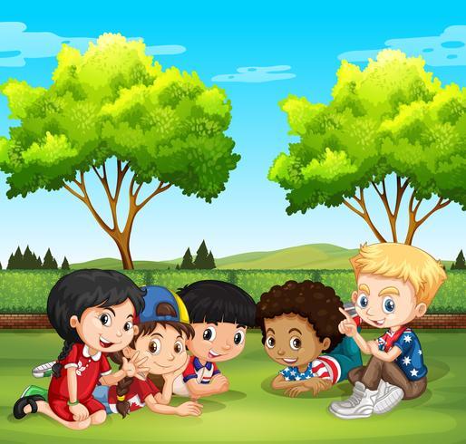 Happy children in the park