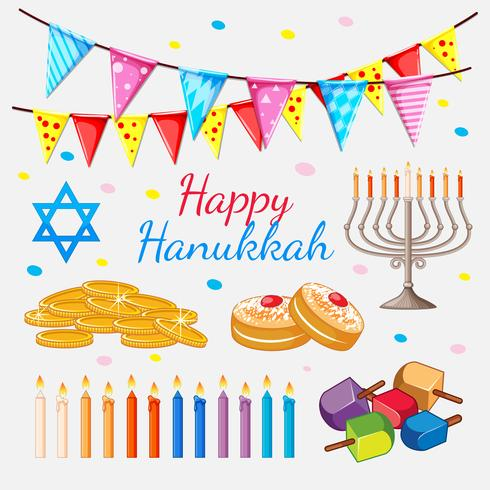 Happy Hannukkah theme with golden coins and candles