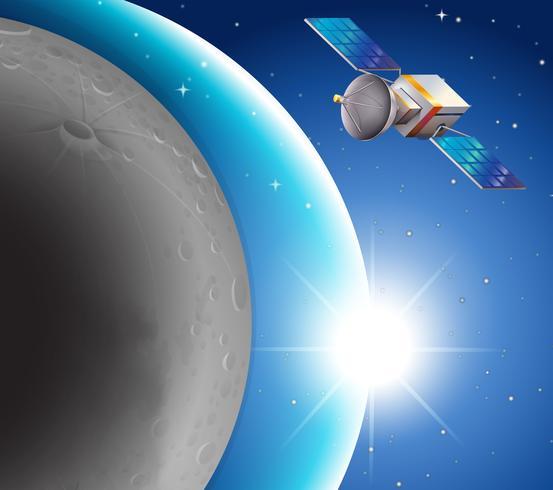 Escena espacial con satélite y planeta azul.