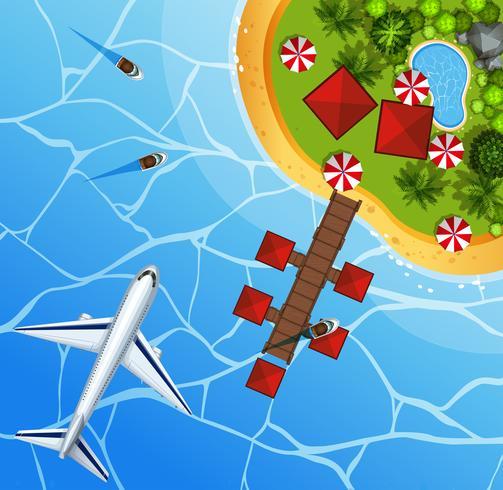 Vista al mar desde la parte superior con avión en sky.