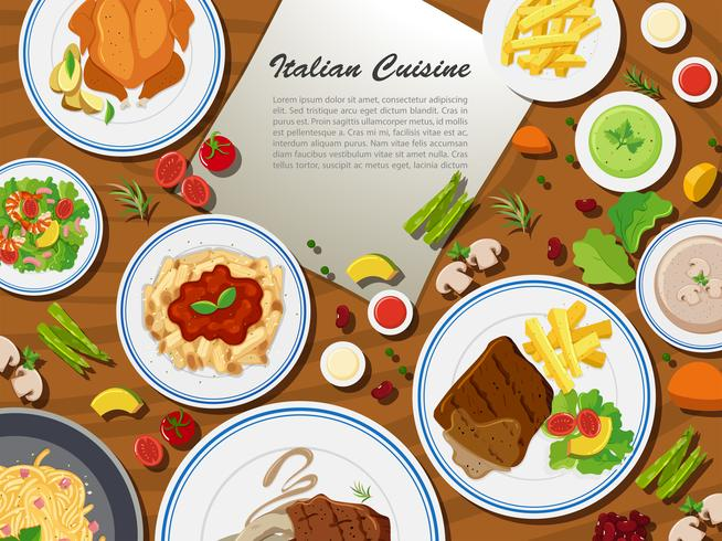 Italian cuisine with different types of food vector