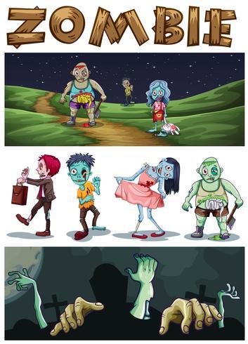 Zombiethema met zombieën die in het park bij nacht lopen
