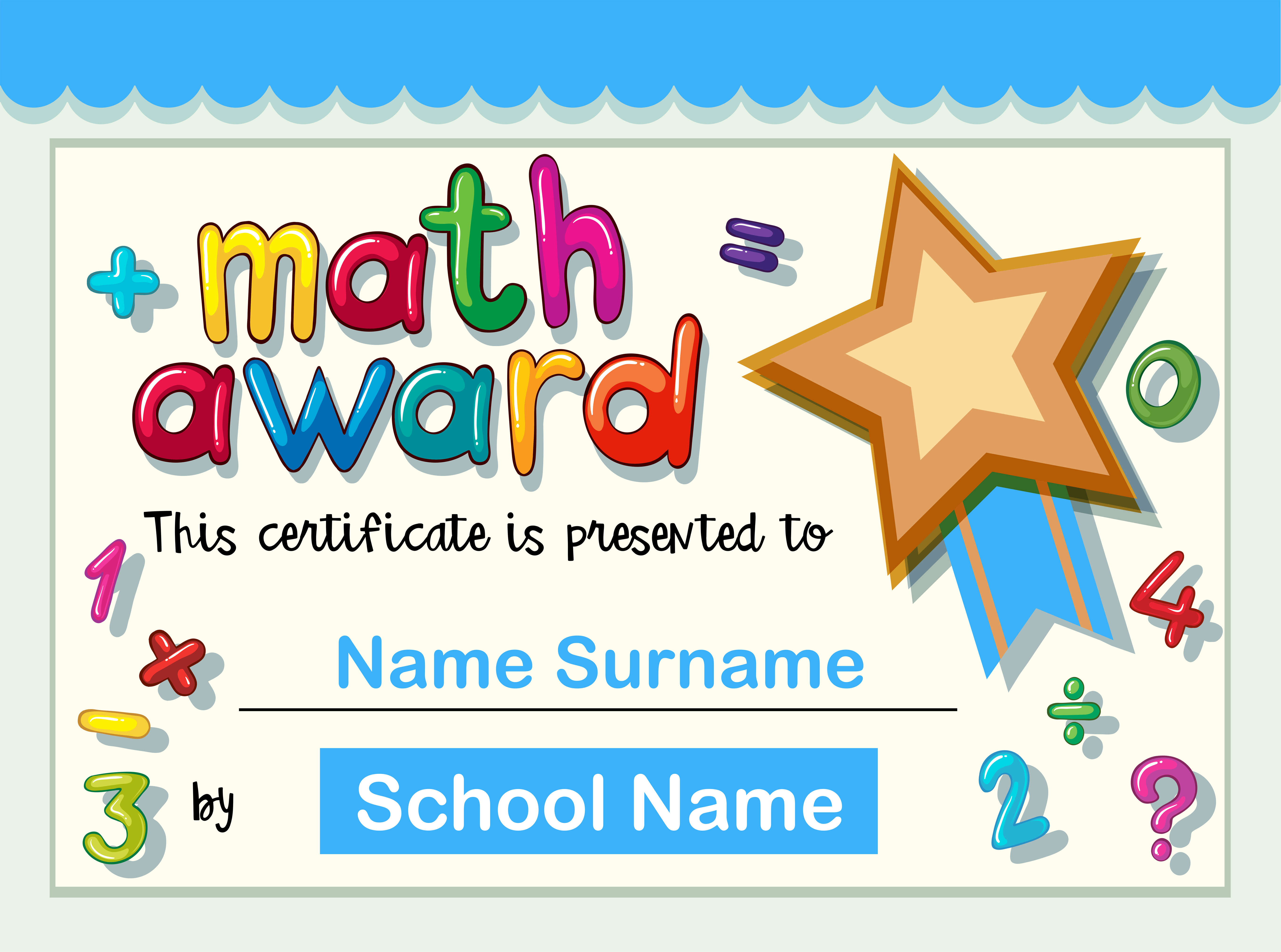 Certificate template for math award with golden star 21 Vector With Star Award Certificate Template