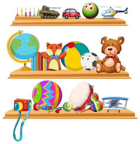 Toys and instruments on wooden shelves vector