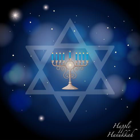 Felice Hanukkah con simbolo e luci degli ebrei vettore