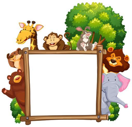 Cornice in legno con molti animali sullo sfondo