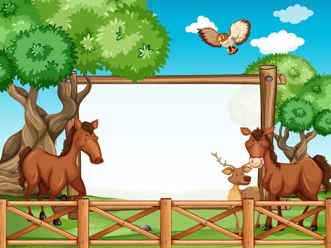 Cadre en bois avec des chevaux et des cerfs