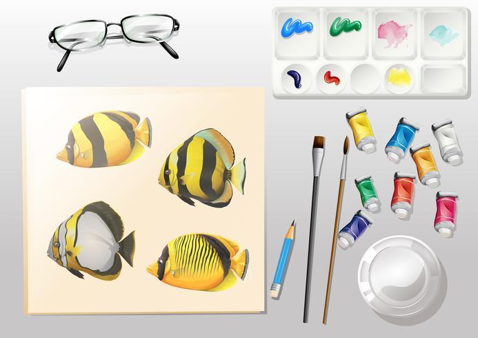 Eine Draufsicht auf ein Gemälde und die verschiedenen Malmaterialien