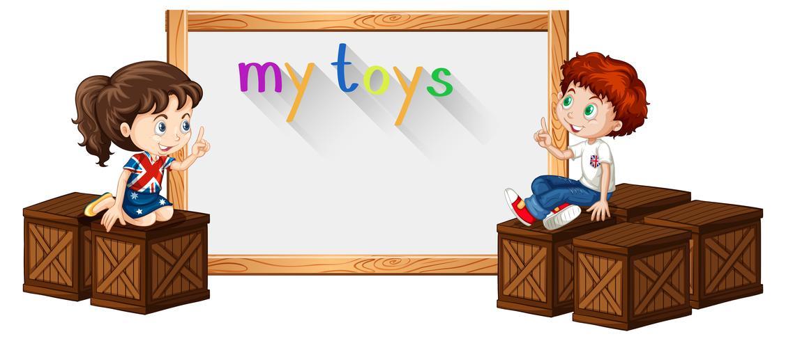 Modello di confine con ragazzo e ragazza sulla scatola