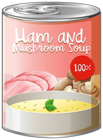 Sopa de jamón y setas en lata