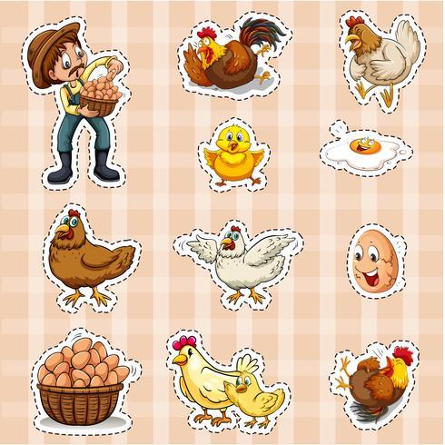 Klistermärke design för bonde och kycklingar
