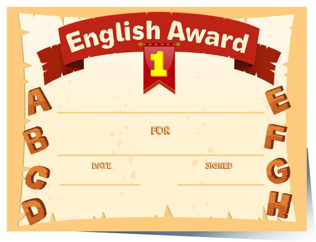 Certificate template with english award