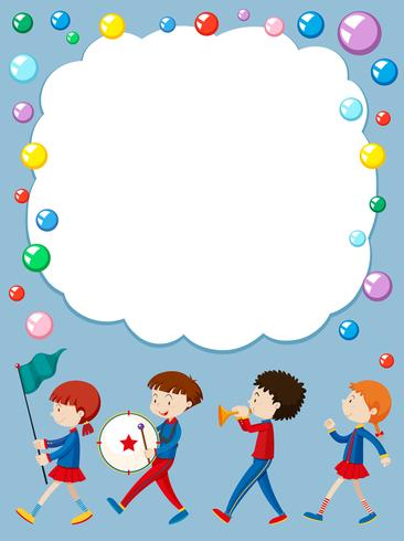 Grens sjabloon met kinderen in schoolband