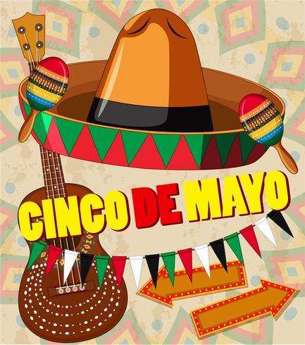 Modèle de carte Cinco de mayo chapeau et guitare