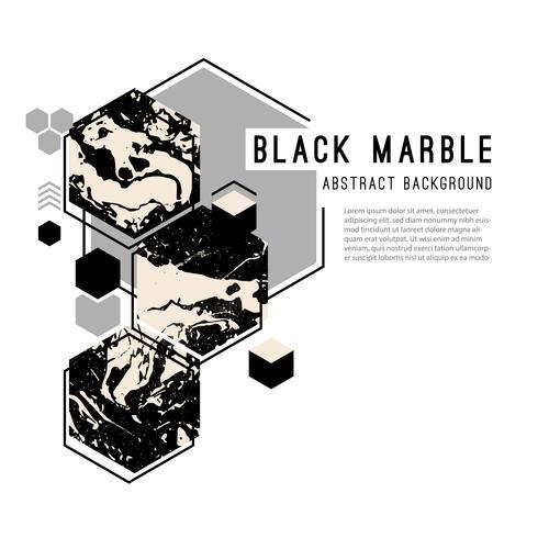 Fondo abstracto con formas geométricas y mármol negro