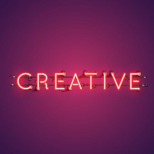 Neon realistic word 'CREATIVE'  for advertising, vector illustration