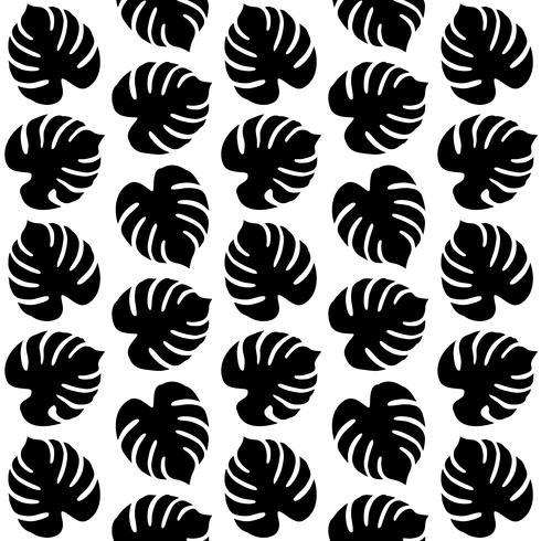Sömlös mönster med tropiska löv vektor