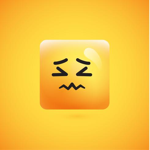 High detailed square yellow emoticon on a yellow background, vector illustration