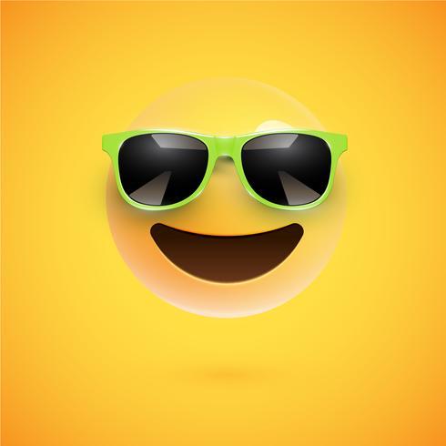 Smiley 3D haute-détaillé avec lunettes de soleil sur un fond coloré, illustration vectorielle