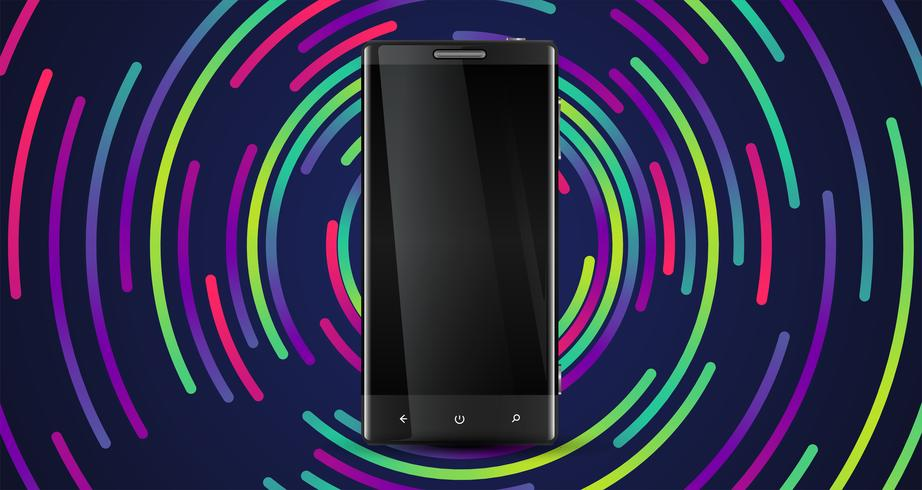 A realistic cellphone with a colorful background, vector illustration