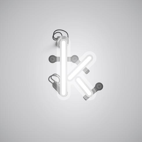 Grå realistisk neon karaktär med ledningar och konsol från en fontset, vektor illustration