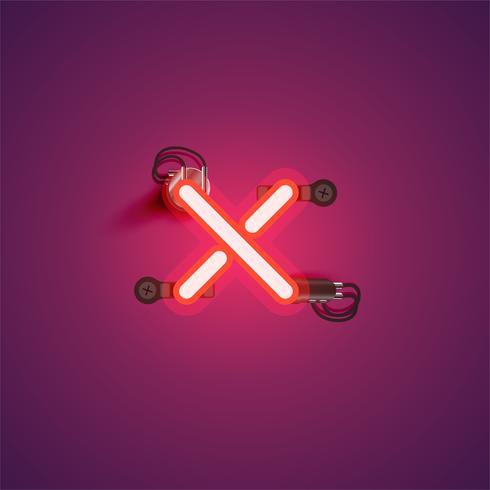 Rood realistisch neonkarakter met draden en console van een fontset, vectorillustratie