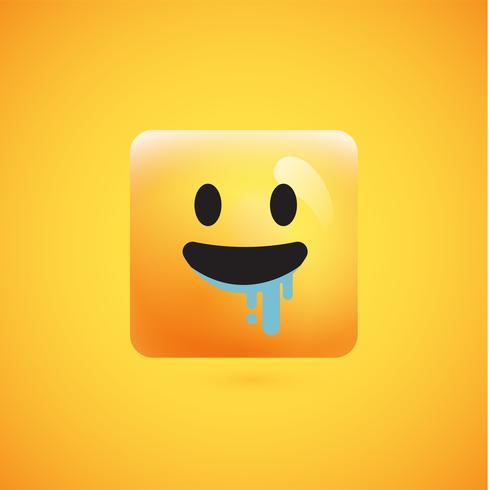 Hoher ausführlicher quadratischer gelber Emoticon auf einem gelben Hintergrund, Vektorillustration
