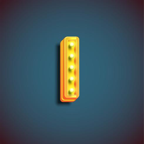 'Broadway' karakter met lampen van een lettertype, vectorillustratie