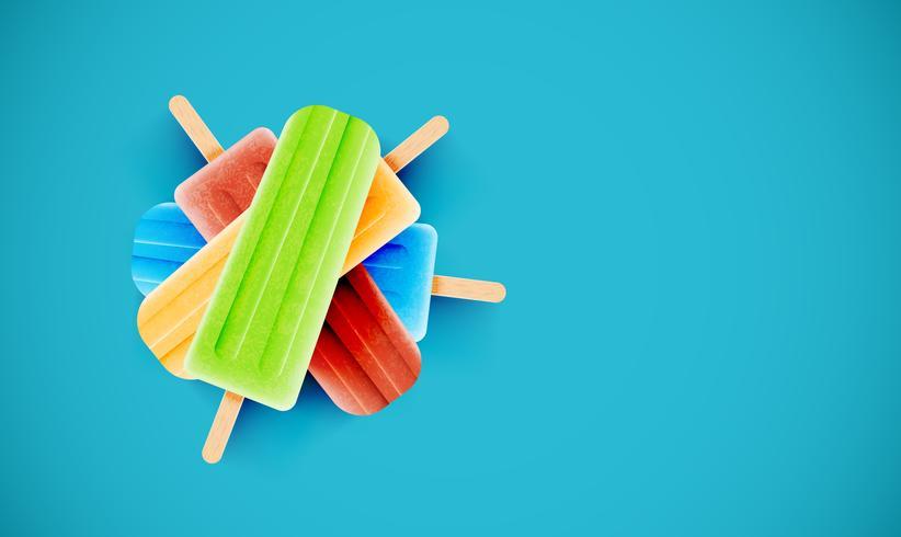 Bunte Eiscreme auf blauem Hintergrund, Vektorillustration