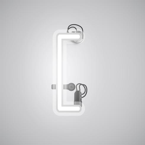 Gray realistic neon character with wires and console from a fontset, vector illustration