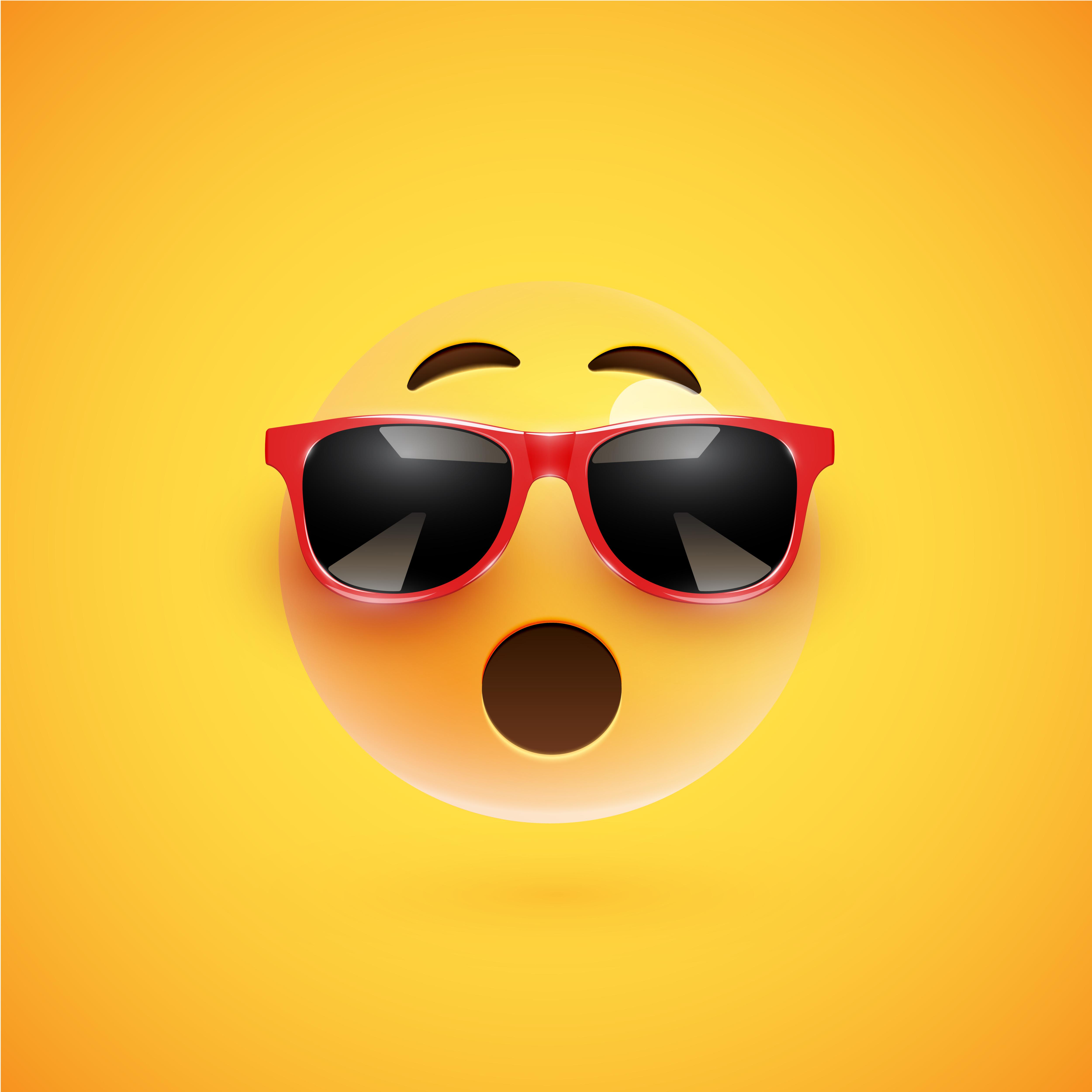 hoch ausf hrlicher smiley 3d mit sonnenbrille auf einem bunten hintergrund vektorillustration. Black Bedroom Furniture Sets. Home Design Ideas