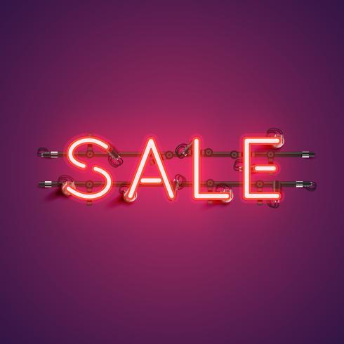 Néon mot réaliste «vente» pour la publicité, illustration vectorielle