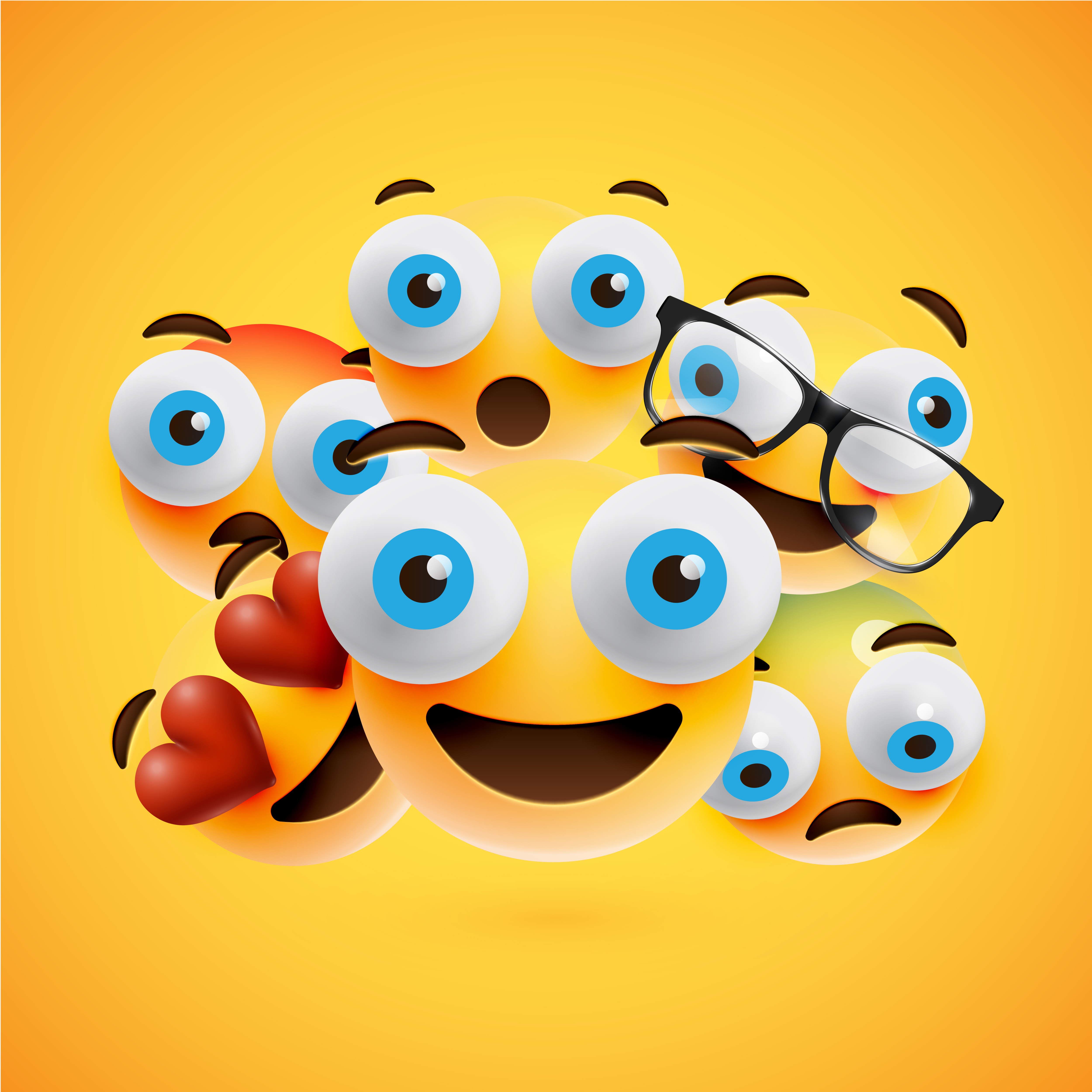Different yellow smileys on yellow background, vector