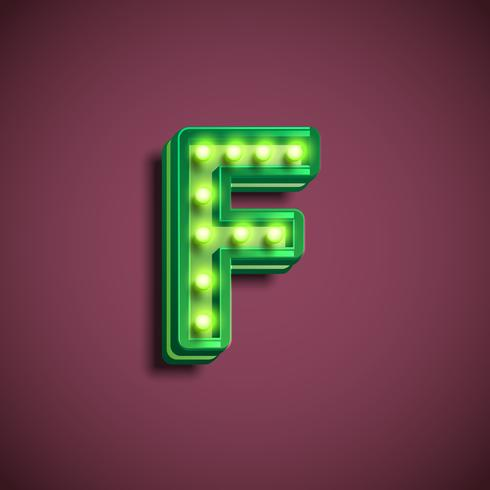 'Broadway' character with lamps from a fontset, vector illustration