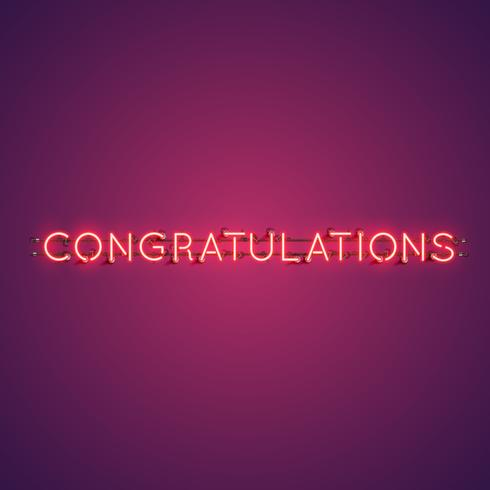 Neon realistic word 'CONGRATULATIONS' for advertising, vector illustration