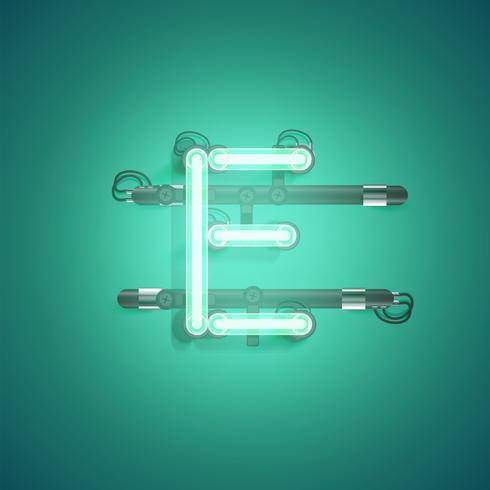 Hoog gedetailleerd neonkarakter van een reeks, vectorillustratie