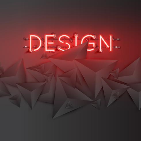Neonord med abstrakta mörka 3D trianglar, vektor illustration