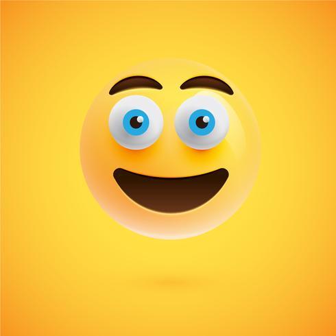 Visage souriant émoticône réaliste jaune, illustration vectorielle
