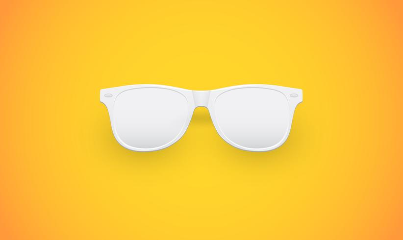Gafas de sol blancas en blanco sobre fondo amarillo, ilustración vectorial