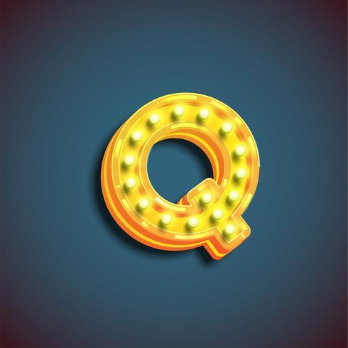"""""""Broadway"""" karaktär med lampor från en fontset, vektor illustration"""