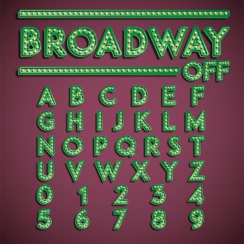 """""""Broadway"""" typsnitt med lampor, vektor illustration"""
