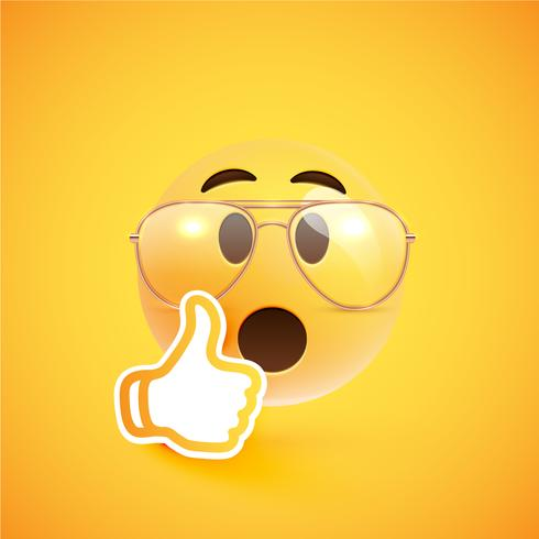 Emoticon realista con anteojos y pulgares arriba, ilustración vectorial