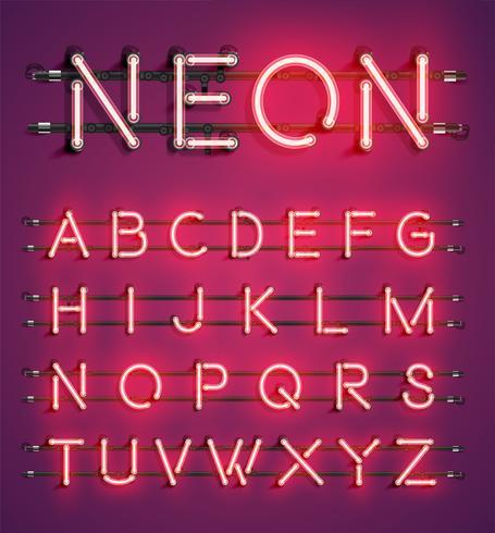 Hoog gedetailleerde neon karakter set, vector illustratie