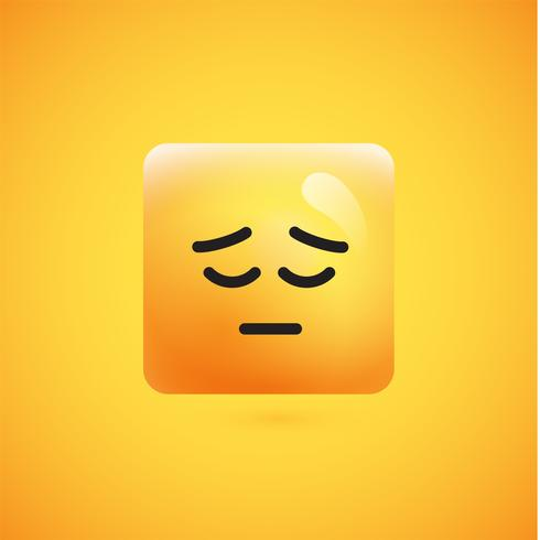 Emoticon amarelo quadrado detalhado alto em um fundo amarelo, ilustração vetorial