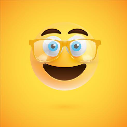 Emoticon amarillo 3D con lentes, ilustración vectorial