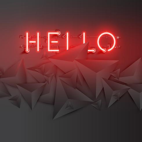 Neonwoord met abstracte donkere 3D driehoeken, vectorillustratie