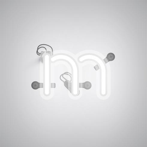 Personnage gris néon réaliste avec fils et console à partir d'un jeu de polices, illustration vectorielle vecteur