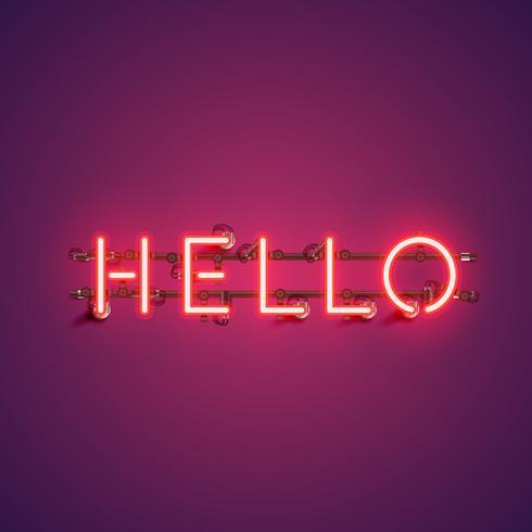 """Neon realistiskt ord """"HELLO"""" för reklam, vektorillustration vektor"""