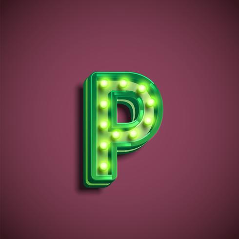 """""""Broadway"""" -Charakter mit Lampen von einem fontset, Vektorillustration"""