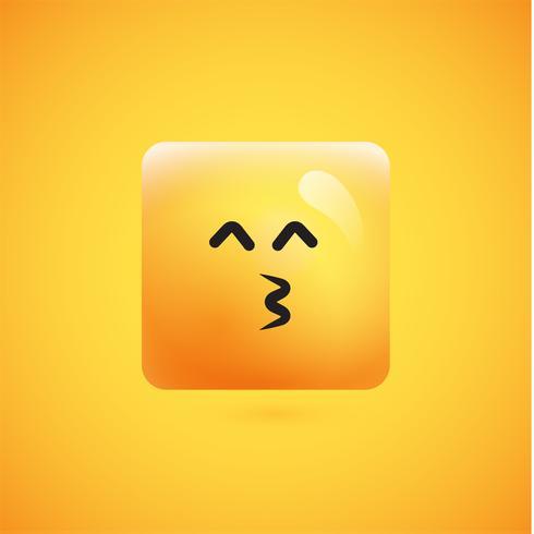 Hoog gedetailleerde vierkante gele emoticon op een gele achtergrond, vectorillustratie
